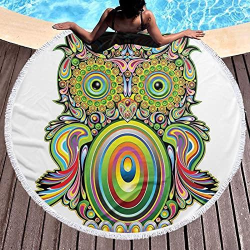 Tapiz redondo para playa, mantel hippy, toalla de playa, búho colorido adornado con elementos étnicos leyenda ojo pluma del universo arte psicodélico, estera redonda de yoga