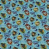 Baumwollstoff Paw Patrol H&eköpfe, 100prozent Baumwolle, blau (50cm x 147cm)