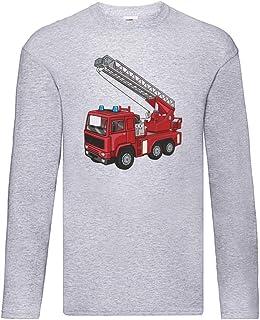Camiseta de manga larga – Camión de bomberos giratorio con dibujos animados cuerno – Manga larga unisex para niños – niños...