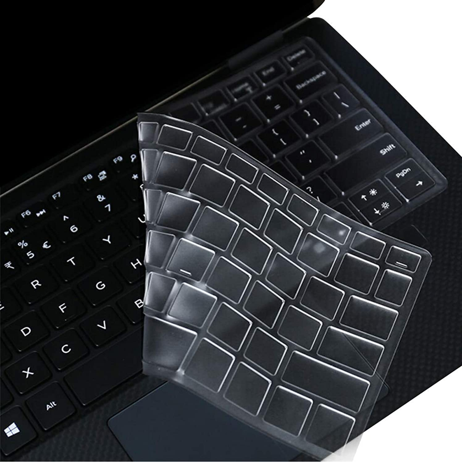 MOSISO Keyboard Cover Compatible with 2019 Dell XPS 13 9380, Dell XPS 9370/9365 13 Inch 2 in 1 Ultrabook Computer(2018/2017 Released),US Version,Ultra Thin Anti-Dust Waterproof Protective Skin,Clear