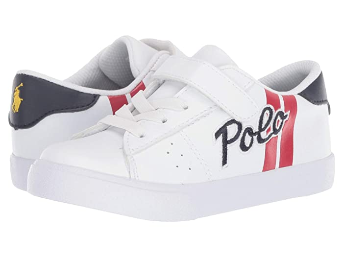 Polo Ralph Lauren Kids  Theron II PS (Toddler) (White Tumbled/Red/Navy/Navy Polo/Yellow Polo Print) Boys Shoes