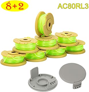 """AsiFancy Weed Eater String Replacement Spools for Ryobi One Plus+ AC80RL3 18V 24V 40V, with String Trimmer AC14HCA Cap Covers 11ft 0.08"""" Cordless Auto-Feed Twist Single Line (8 Spool, 2 Cap)"""