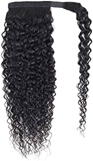 Seelaak Curly Hairpiece Wrap Around Ponytail Hair Piece with Clips Human Hair Ponytail Extensions 100g/set Magic Paste Binding Pony Tail Hairpiece for Women (20inch)