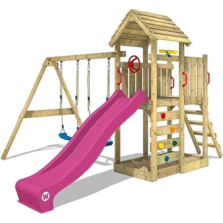 WICKEY Parco giochi in legno MultiFlyer tetto in legno, Giochi da giardino con altalena e scivolo viola, Casetta da gioco per l'arrampicata con sabbiera e scala di risalita per bambini