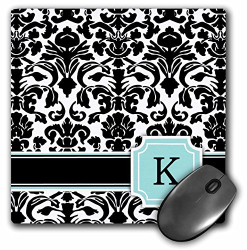 3dRose LLC 8 x 8 x 0.25 Inches Mouse Pad, Letter K Personal Monogrammed Mint Blue Black and White Damask Pattern Classy Personalized Initial (mp_154360_1)