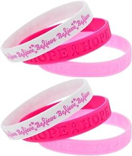 Breast Cancer Pink Ribbon Awareness Rubber Bracelets (6 Pack
