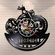 American Classic Motorcycle Wall Art Wall Clock Garage Sign Motorbike Vintage Vinyl Record Wall Clock Man Cave Decor Biker...