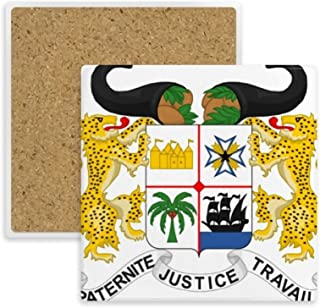 Emblema Nacional de Benin Country posavasos cuadrado taza taza soporte para bebidas de piedra absorbente 2piezas Regalo