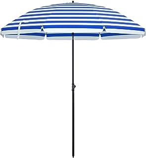 SONGMICS Sonnenschirm für Strand, Ø 200 cm, Gartenschirm, UV-Schutz bis UPF 50+,..