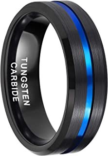 8mm Mens Black Tungsten Ring with Thin Blue/Gold/Black Groove Beveled Edge Comfort Fit Size 7-14