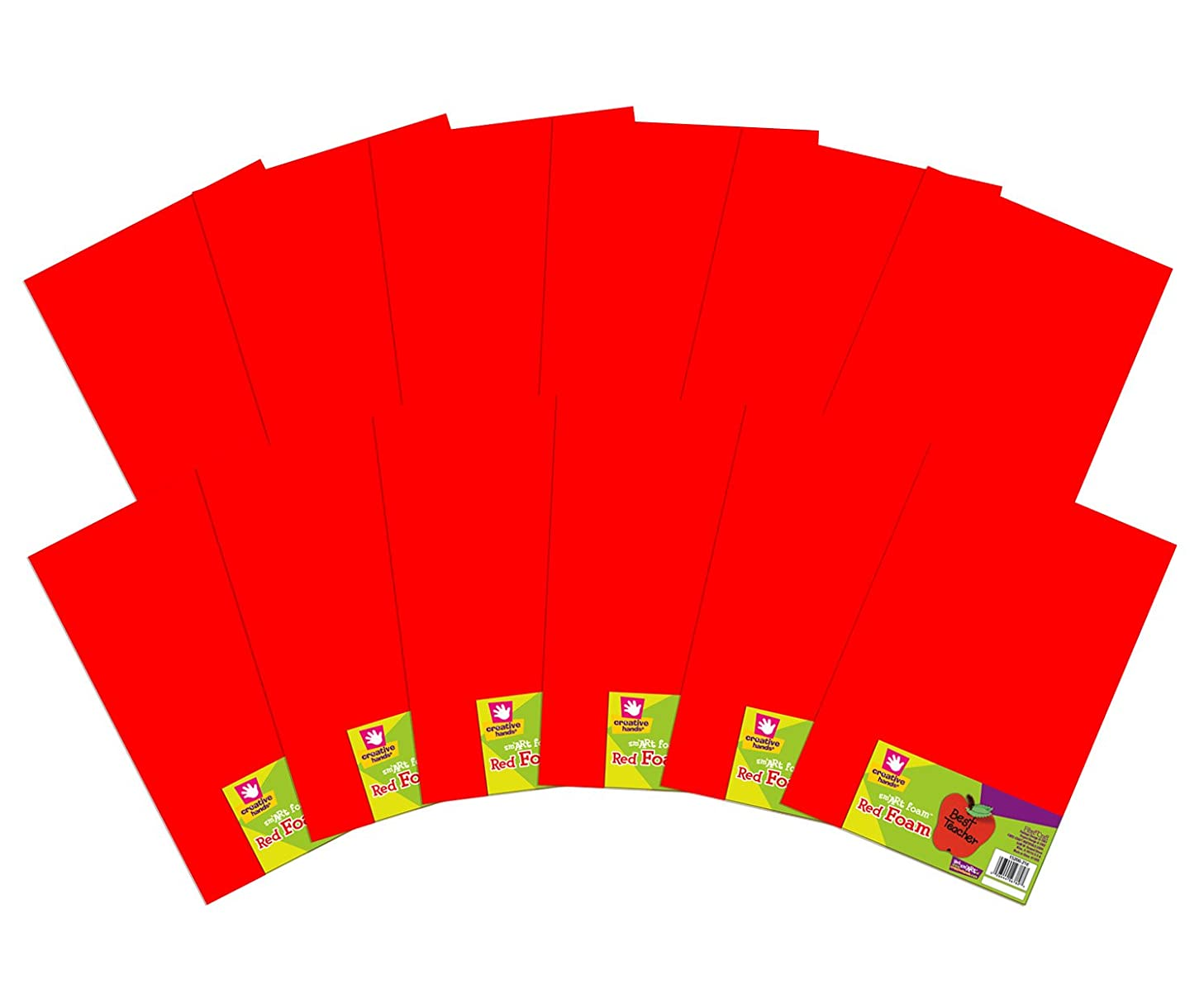 "Creative Hands by Fibre-Craft – 12-Pack 11""x17"" Red sm'Art Foam Sheets – Arts and Crafts – No Glue or Scissors Required – For Ages 4 and Up"