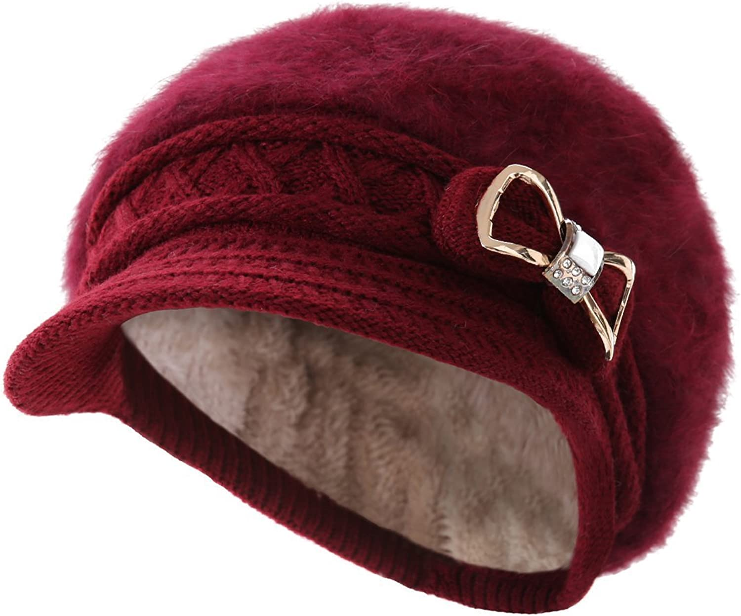 Surbluee Lady Crystal Bow Warm Cabled Angora Knit Winter Beanie Crochet Beret Hats Newsboy Caps