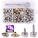 Swpeet 120Pcs Sliver Fastener Screw Snaps With 1Pcs Snap Setting Tool Kit, Stud Snap with 3/8 Inch and 5/8 Inch Stainless Steel Screw, Snap Button Screw-In Studs Pack For Furniture Canvas Fabric Boats
