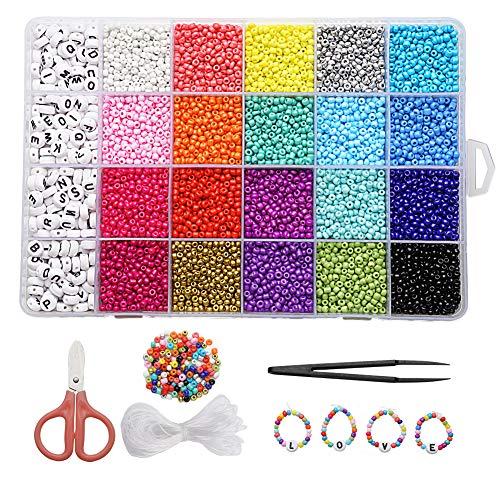 10000+pcs Gemstone Beads Kit,Irregular Chips Stone Beads for DIY Jewelry Necklace Bracelet Earring Making Supplies
