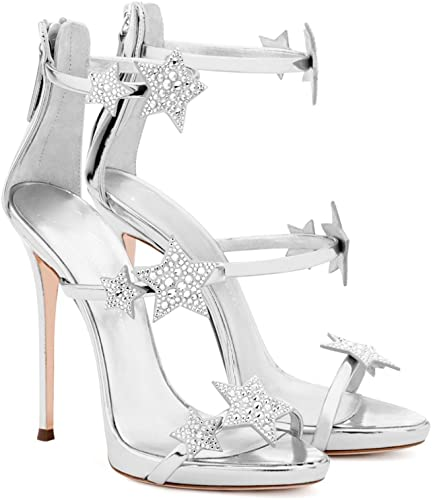 Été Femmes Noir à Talons Chaussures Sandales étoiles Strass Boucle Boucle Sangle Sexy Pompes Sandales De Mariage Cour Escarpins  achats en ligne et magasin de mode