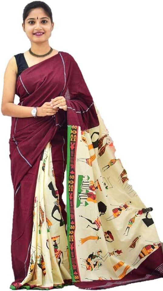 Indian USK Women Khesh Cotton Saree With Blouse Piece (Khesh cotton gurjari printed saree_Beige) Saree