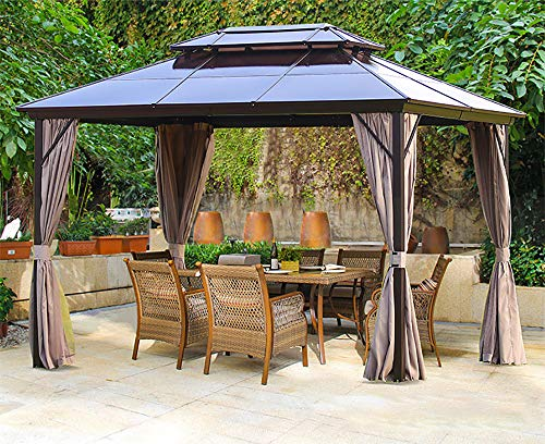 Erommy 10x13ft Outdoor Double Roof Hardtop Gazebo Canopy Aluminum Furniture Pergolas with Netting and Curtains for Garden,Patio,Lawns,Parties