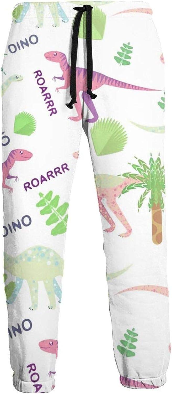 Men's Jogger Sweatpants Cute Dinosaurs 3D Loose Joggers Pants with Drawstring Long Pants