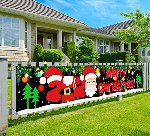 Merry Christmas Banner-2020 Christmas Quarantine Decoration, 9.8x2FT Vinyl Large Xmas Quarantine Survivor Outdoor Yard Sign with Christmas Tree and Santa Claus
