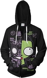 Mens Invader Zim Gir Doom Hoodies Adult Casual Hooded Zip Up Sweatshirt