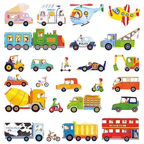 DECOWALL DW-1405 I Trasporti Adesivi da Parete Decorazioni Parete Stickers Murali Soggiorno Asilo Nido Camera da Letto per Bambini