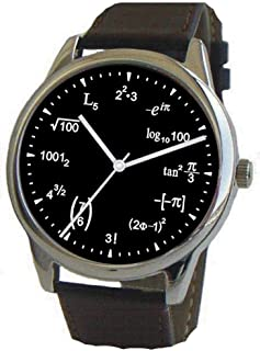 Math Dial Watch Shows Physics Equations on The Black Dial of The Large Polished Chrome Watch with Black Leather Strap