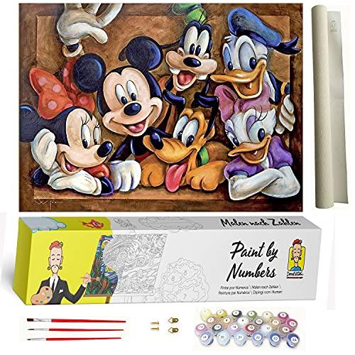 DonElton Pintar por numeros Disney – Lienzos para Pintar por números con Pinceles y Colores Brillantes – Cuadros de Pintura con numeros Dibujados para Adultos y niños – Sin Marco