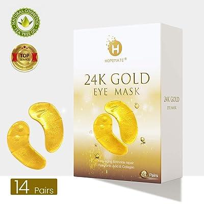 Eye Patches, HOPEMATE Under Eye Mask, 24K Gold ...