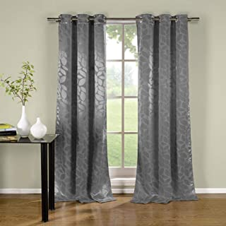 Duck River Textiles - Zayden Floral Leaf Print Silk Textured Grommet Top Window Curtains for Living Room & Bedroom - Assorted Colors - Set of 2 Panels (38 X 96 Inch - Silver)