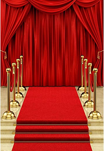 4x6ft Red Carpet Stairs Background Golden Horse Photography Backdrop Photo Booth Props LYFU504