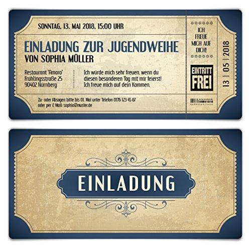 10 x Jugendweihe Einladungskarten Einladungen Jugendfeier - Vintage Eintrittskarten in Blau