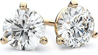 14K Yellow or White Gold or Platinum Near Colorless Round Brilliant-Cut Diamond Stud Earrings With 3-Prong Martini Settings & Screwbacks (H-I / SI1-SI2)