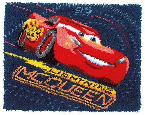 Vervaco WD Knüpfteppich Lightning McQueen Knüpfpackung zum Selbstknüpfen eines Teppichs, Stramin, weiß, 69 x 56 x 0,3 cm