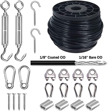 """PSI Flexible Multi-Purpose DIY Outdoor Safety Guide Wire Rope 1//4/"""" Vinyl Coated Galvanized Steel Cable with Looped Ends 10 feet, Black 7x19 Braids 3//16/"""" Core Diameter"""