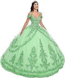 Snow Lotus Donna Spaghetti Strap Oro Pizzo Applique A Livelli Abito Quinceanera Off houlder Dolce 16 Prom Ball Gown