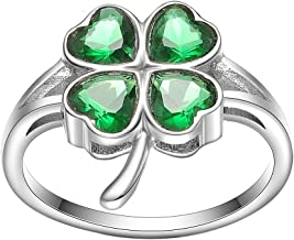KIVN Fashion Jewelry Irish Shamrock Four Leaf Clovers Bridal Wedding Engagement Rings for Women(Emerald)