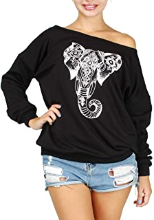NANTE Top Loose Women's Blouse Off The Shoulder Elephant Print Tops Long Sleeve T-Shirt Shirts Ladies Clothes Womens Costume