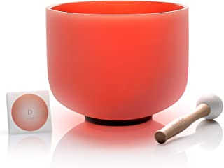 TOPFUND 432Hz Perfect Pitch D Note Crystal Singing Bowl Sacral Chakra Orange Color 8 inch O-ring and Rubber Mallet included
