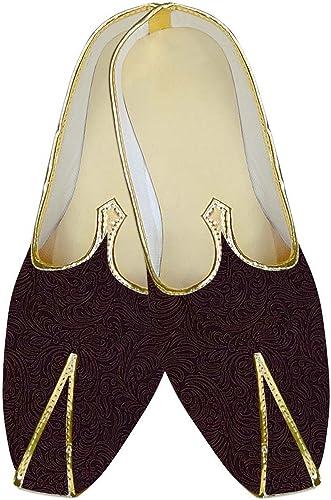 INMONARCH Herren Weiß Farbe Hochzeit Schuhe Blaumenmuster MJ14159