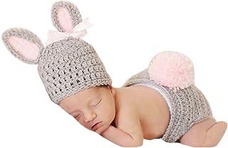 Aivtalk - 2 pcs Ropa Traje de Fotos para Bebés Recién Nacidos 3-6 Meses Niños Niñas Disfraz de Fotografía de Punto Ganchillo Sombrero con Pantalones cortos - Formado de Conejo - Rosa Gris
