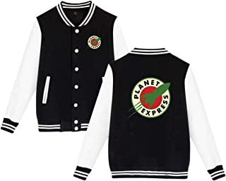 PLANET EXPRESS Mens & Womens Vintage Hoodie Baseball Uniform Jacket Sport Coat Black