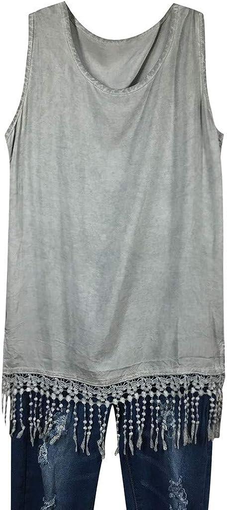 iYYVV Womens Fashion Sleeveless Shirt Tassel Hem Casual Tank Tops Vest