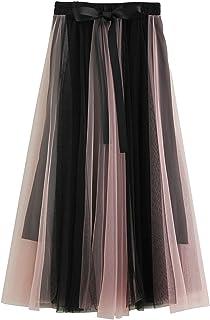 FEOYA Gonne Lunghezza Due Colori Donna Gonna in Tulle Vita Alta Stile Vintage Casual Elastico in Vita Sottogonna in Vita c...