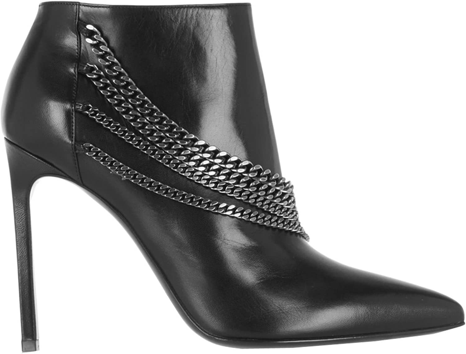 TDA Women's Pointed Toe Zipper Chains Calfskin Evening Party Dress Sexy Stiletto Ankle Boots
