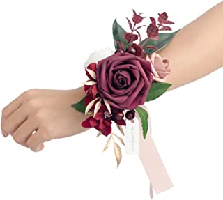 Ling's moment Set of 6 Wrist Corsage Shoulder Corsage for Wedding Ceremony for Bridesmaid Mother Grandmother for Bridal Sh...