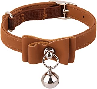 Flameer Adjustable Safety Cat Collar Neck Buckle Strap with Bell for Puppy Cat Collars, Harnesses Leashes Collars Basic Collars - Brown