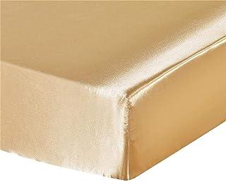 Aimili Drap-housse en satin de soie super doux pour lit à eau et à sommier tapissier (doré, 150 x 200 cm)