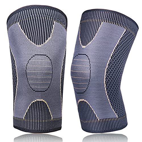 GP 2Pack Copper Knee Brace Sleeves for Women & Men Arthritis Pain Relief and Support Compression Knee Sleeve for Knee Pain,MCL,ACL,Running,Cycling(2Pack, Golden, XXL)