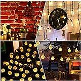 Solar String Lights 60 LED 36ft Solar Patio Lights, Outdoor Bulb String Lights, Waterproof 8 Modes, Crystal Ball Solar Christmas Lights for Patio, Garden, Gazebo, Tree (Warm White)