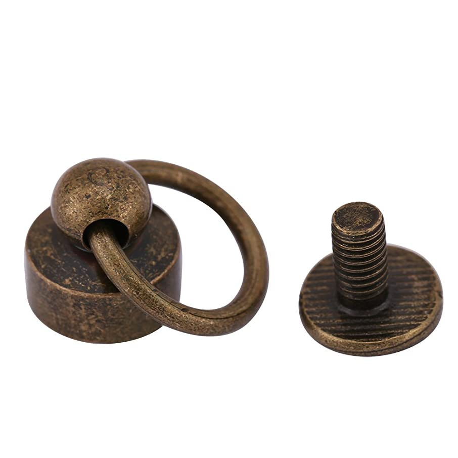 Pack of 20 Sets Brass Round Head Button Stud, Leathercraft Screws Nail Rivets, DIY Leather Craft Metal Rivet with Pull Ring Buckle for Belt Strap Bag Shoes Decoration(Bronze)